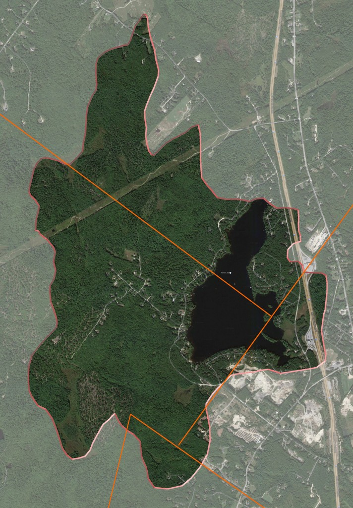 The watershed area encompasses approximately 1913 acres in Cumberland, Gray, Windham, and Falmouth Maine.